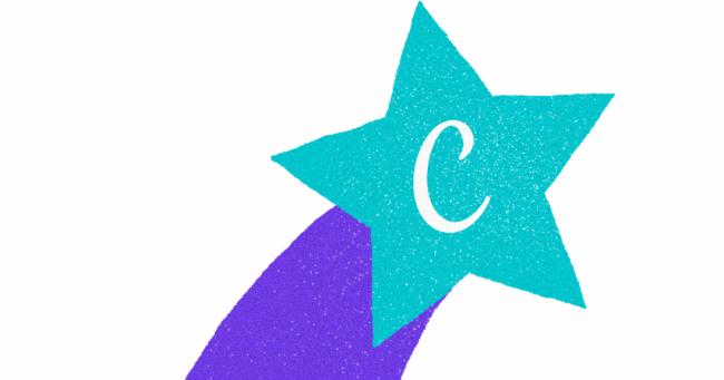stella disegnata e colorata con la C del logo di Canva